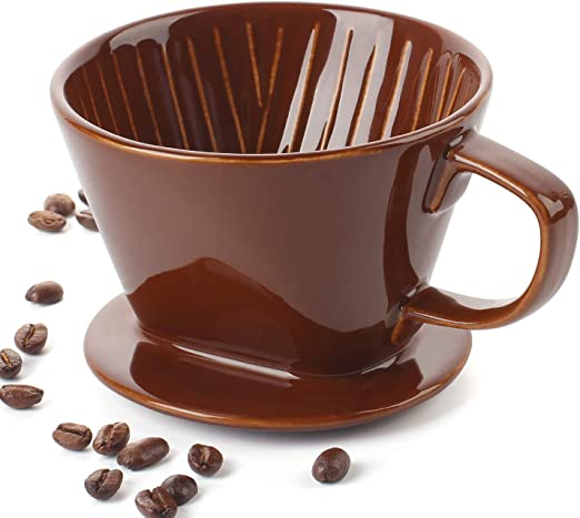 DOWAN Ceramic Coffee Dripper, Reusable Pour Over Coffee Dripper, Brown