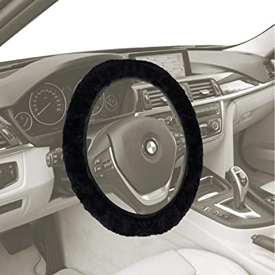 VaygWay Sheepskin Fur Wheel Cover - Black Fuzzy Steering Wheel Cover – Stretch-On Plush Furry Cover - for Car Auto SUV: Automotive
