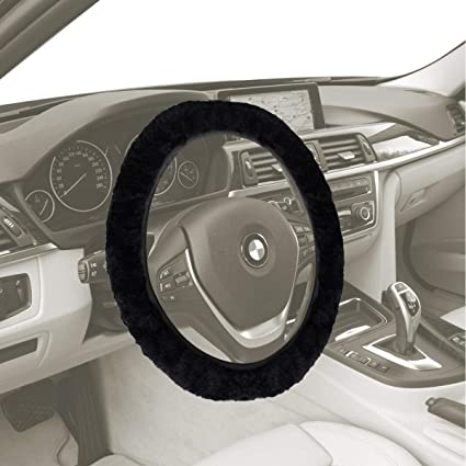 amazon com vaygway sheepskin steering wheel cover black stretch onimage unavailable image not available for color vaygway sheepskin steering wheel cover black stretch