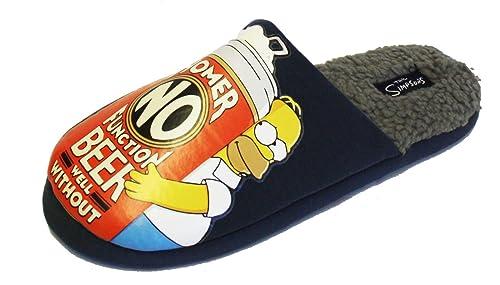 Socks Uwear- Zapatillas de ir por casa para hombre, diseño Homer Simpson, 41