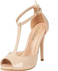 3b7c3ca8d654a Calaier Womens Cachess 2016 Sexy Luxury Fancy Fashion Wedding Peep Toe High  Heel Ankle Strap T