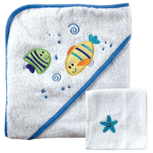 Luvable Friends Hooded Towel and Washcloth, Green - Hooded Towel Fish