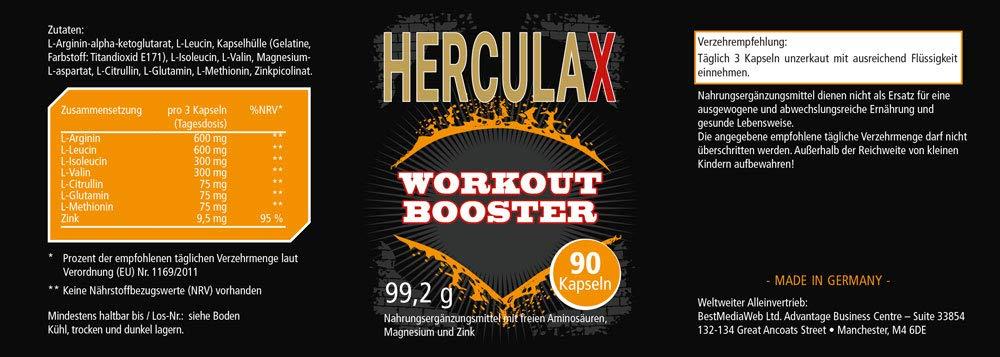 HERCULAX cápsulas para aumentar la masa muscular | suplemento nutricional | para el rápido aumento del crecimiento muscular | Quemador de grasa | 90 ...