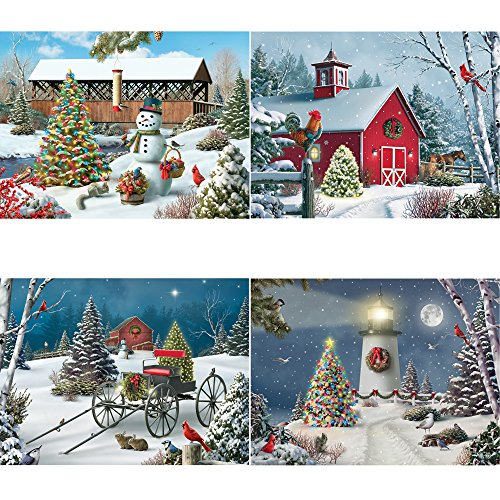 Bits and Pieces - Set of Four (4) 500 Piece Jigsaw Puzzles for Adults - Christmas Winter Holiday Puzzles - 500 pc Snow Scene Jigsaws by Artist Alan Giana ()