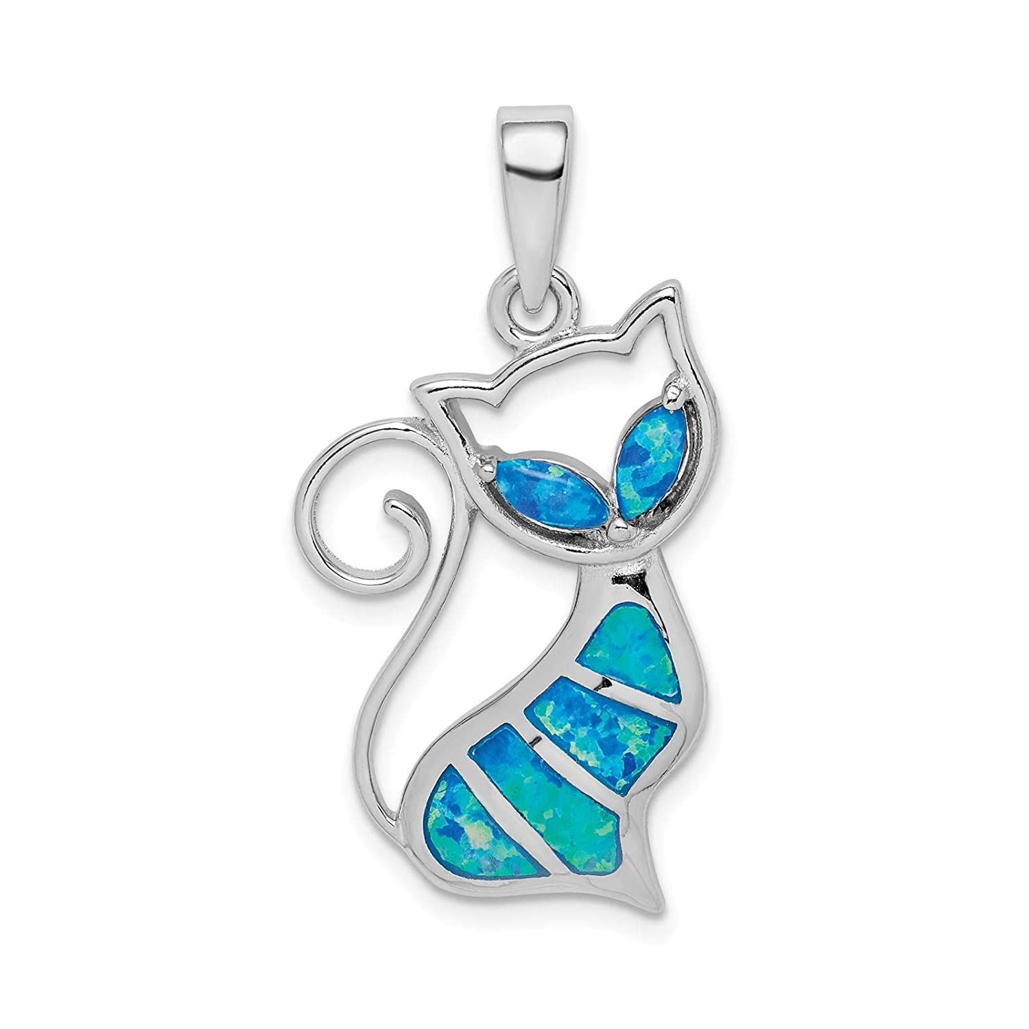 925 Sterling Silver Rhodium-plated Polished Created-Opal Inlay Cat Charm Pendant