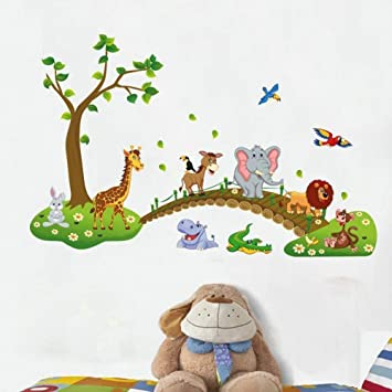 High Quality Jungle Animal Across The Bridge Removable Cartoon Wall Sticker Wall Decal  Wall Decor Wallpaper For Kids Part 31