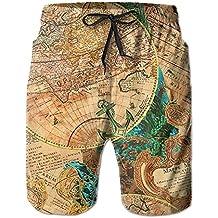 Hoodieu World Map Tie Waist Mens Boardshorts Swim Trunks Men Tropical Gym Swim Board Shorts Bathing Swim Trunks
