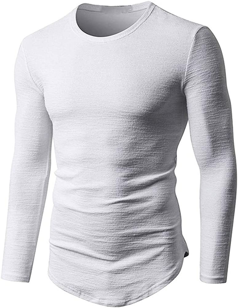 Camiseta musculosa de Hombre Blusa Lisa de algodón de Manga Larga ...