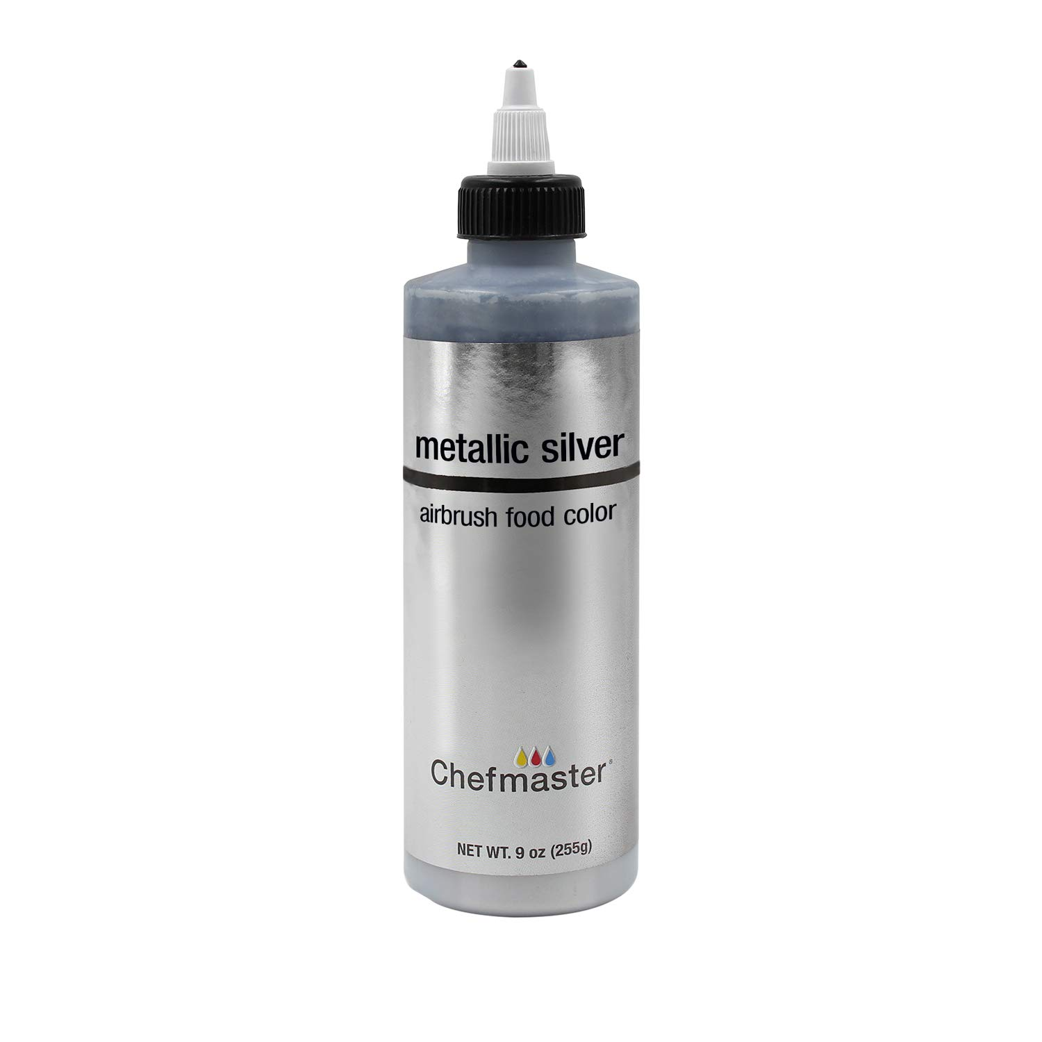 Chefmaster by US Cake Supply 9-Ounce Airbrush Cake Food Color Metallic Silver