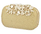 Charming Tailor Evening Bag for Women Chic Bling Floral Rhinestones Party Clutch (Gold)