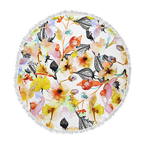 KESS InHouse Liz Perez Blossoms Multicolor Floral Round Beach Towel Blanket ()