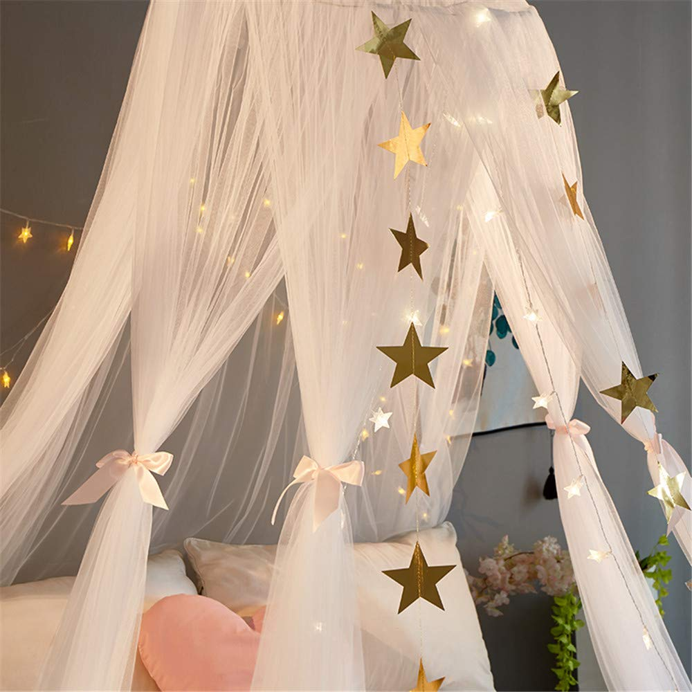 EVDAY Romantic Princess Style White Bed Canopy with Lights for Girls Kids Play Tent Hanging Mosquito Net Curtain for Kids Room Decoration by EVDAY (Image #3)