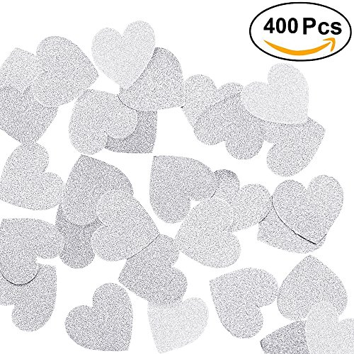 Silver Heart Invitations - Aonor 2 Packs Glitter Hearts Confetti for Table Decor, Bridal Shower, Wedding Party Decorations, Silver, 1.2