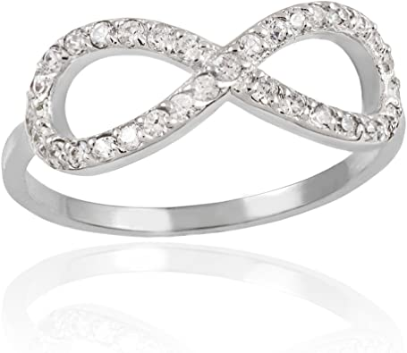 Amazon Com 10k White Gold Diamond Infinity Ring Infinity Diamond Promise Ring Jewelry