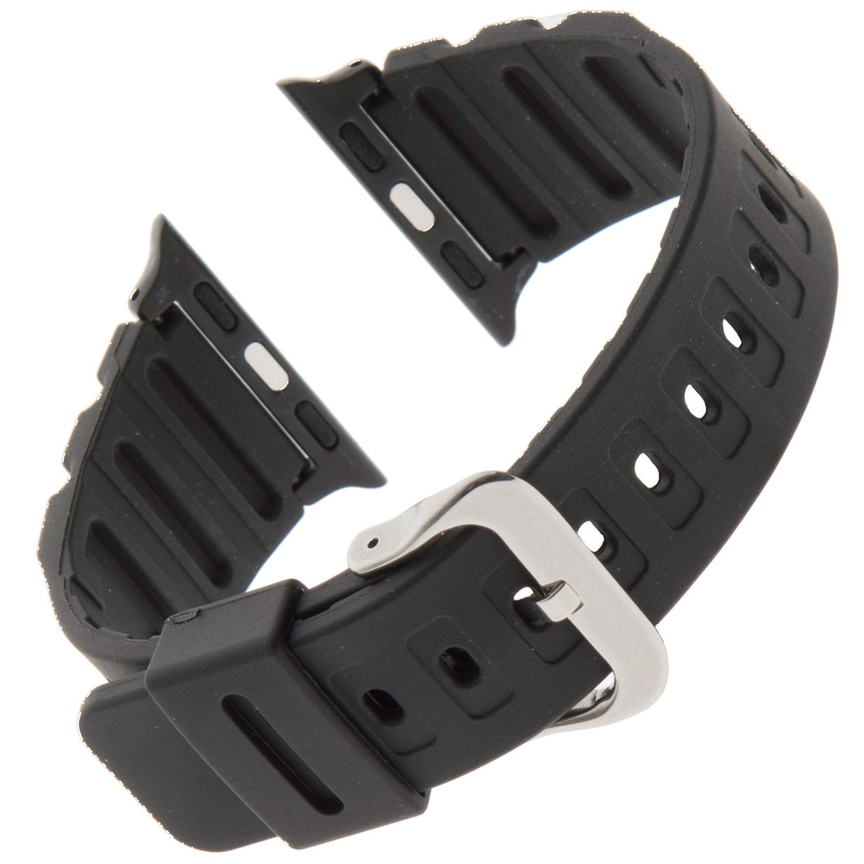 Gilden for Apple 38mm Extra-Long Black Waterproof Polyurethane Watch Band 017270-SMART