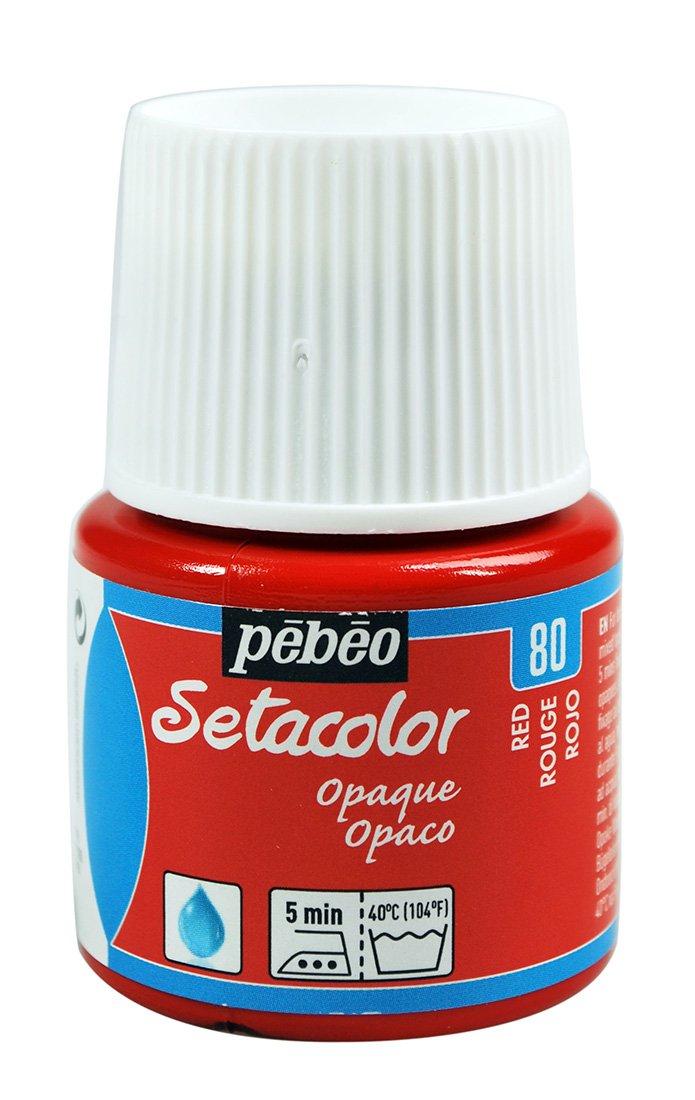 Pebeo - Colore per stoffa Setacolor opaco, flacone da 45 ml, colore: Rosso 295-080