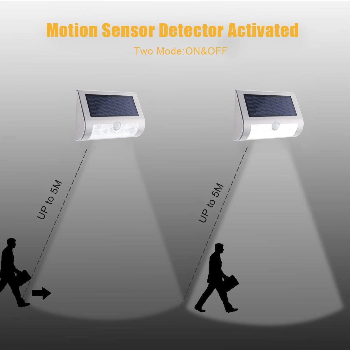 Foco Solar LED con Sensor de Movimiento, AVAWAY Lámpara Solar Lámpara de Pared Impermeable Auto On/Off para Jardín, Césped, Patio, Caminos, Campo de Fútbol: ...