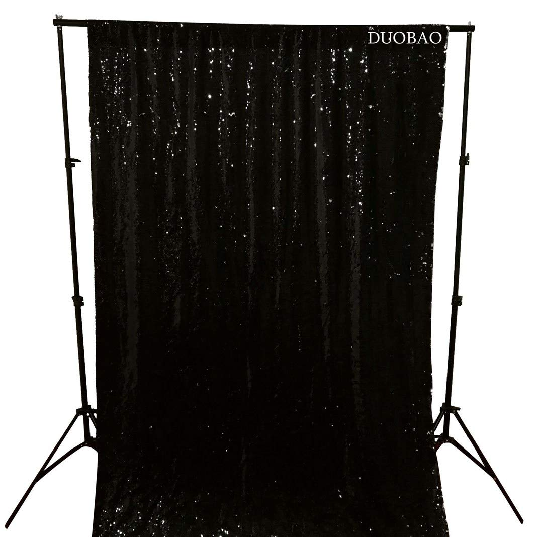 DUOBAO Sequin Backdrop Curtains 2 Panels 4FTx8FT Reversible Sequin Curtains Black to Silver Mermaid Sequin Curtain for Wedding Backdrop Party Photography Background by DUOBAO (Image #3)