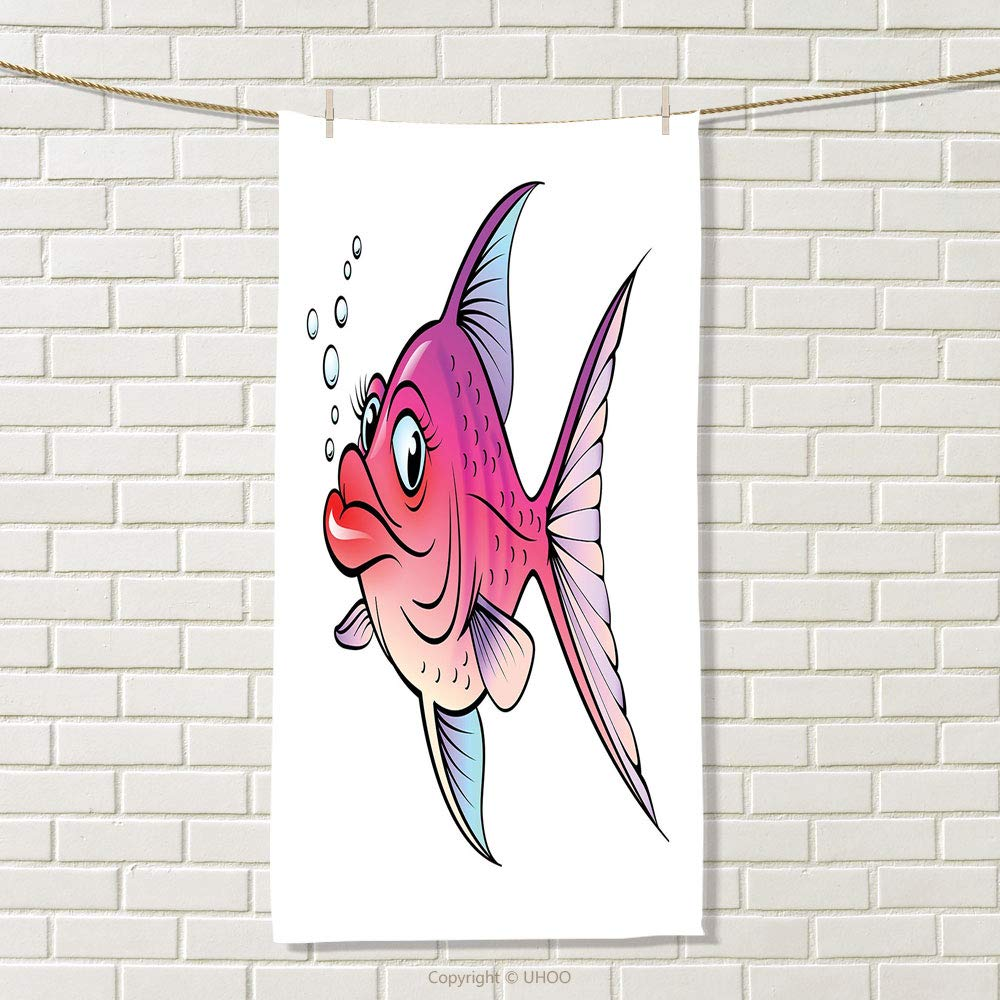 smallbeefly Fish Travel Towel Cartoon Style Smiling Female Goldfish with Plump Lips Underwater Comic Quick-Dry Towels Hot Pink Fuchsia Purple Size: W 27.5'' x L 58''