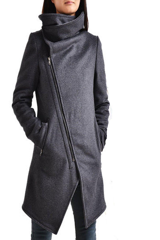 Women's Cashmere Wool Coat Dark Grey