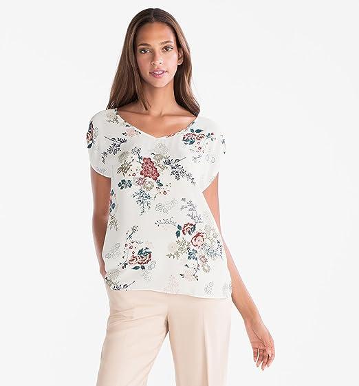 C&A Damen Bluse floraler Print langer Saum V-Ausschnitt puder rosé nude rot  Größe: Amazon.de: Bekleidung