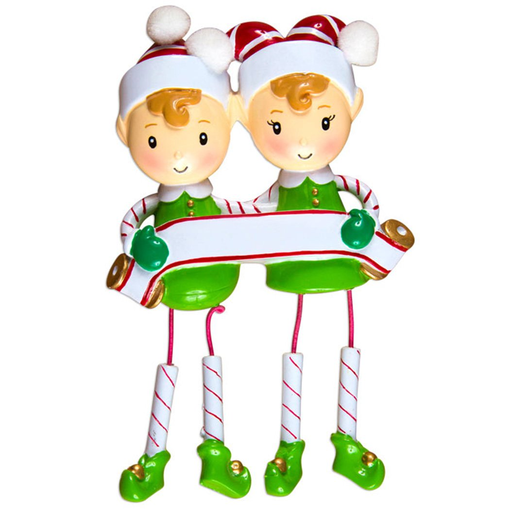 Personalized Dangling Elf Family of 2 Christmas Ornament for Tree 2018 - Couple Sibling Santa Friend in Candy cane Shoe - Romantic Tradition Book Shelf Helper Pixie - Free Customization by Elves (Two)