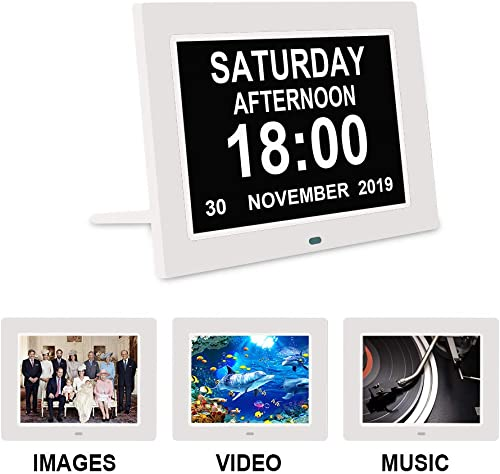 Digital Calendar Alarm Day Clock – With 9 Led Dimmable Impaired Vision Digital Clock with USB Charger Port,12 24 Hour, 12 Alarm, for Extra Large Impaired Vision People, The Aged Seniors, The Dementia