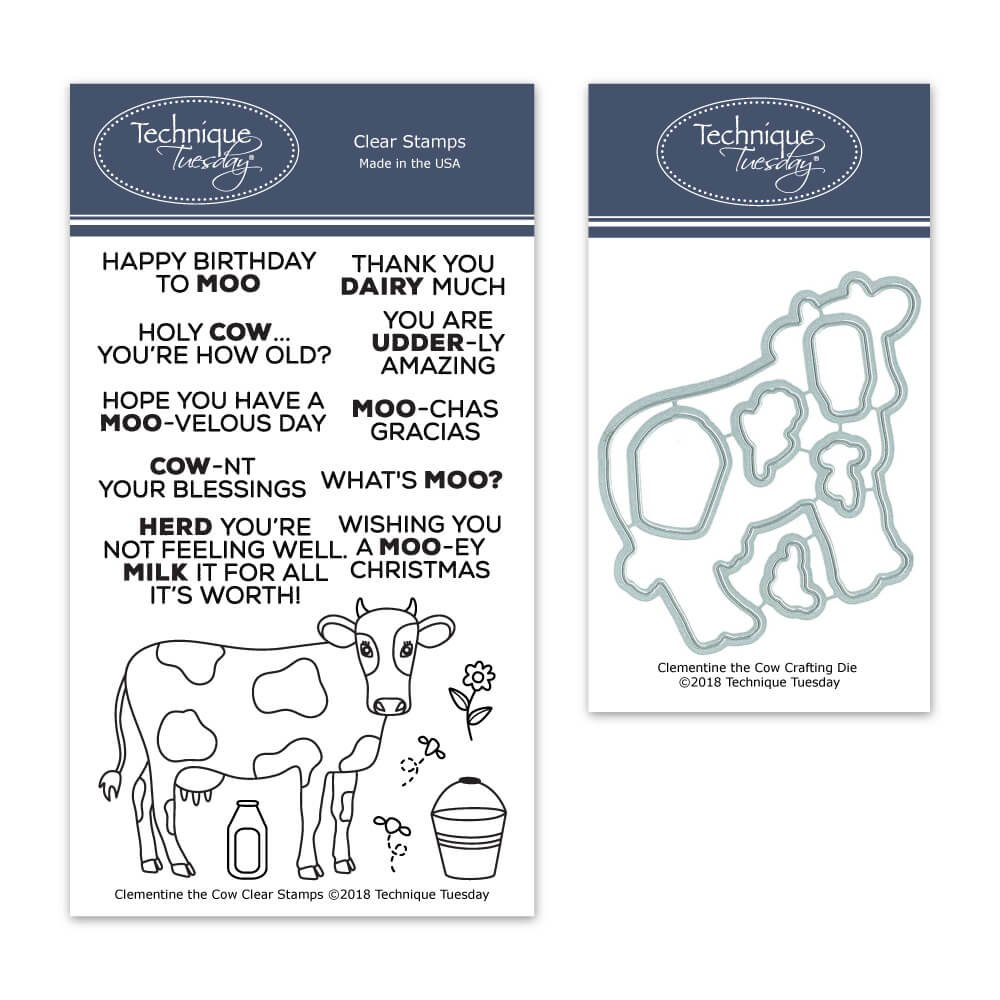Clementine The Cow Clear Stamps with Matching Metal Dies | Clear Rubber Stamps | Photopolymer Stamps | Die Cuts | Craft Dies | Card Making Supplies by Technique Tuesday