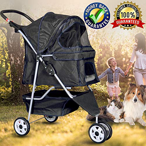Bigacc Three Wheels Pet Stroller Large/Small Dog Stroller for Dog Cat Stroller Pet Jogging Stroller Pet Jogger Stroller Dog/Cat Cage Travel Lite Foldable Carrier Strolling Cart,Black