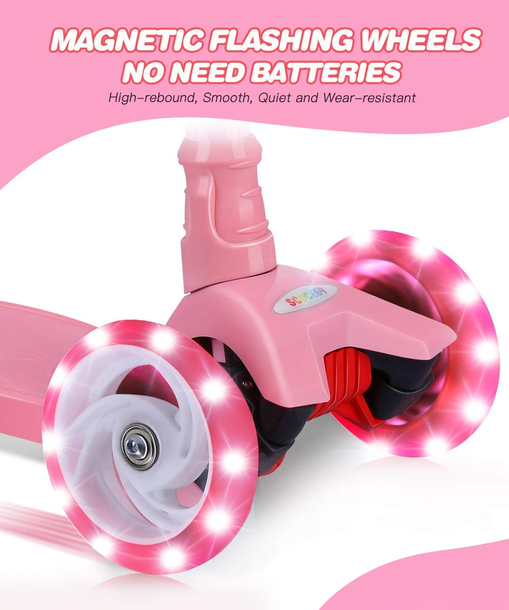 OUTON Kick Scooter for Kids /& Toddlers Girls or Boys 4 Adjustable Height Wide Deck PU Flashing Wheels for Children from 3 to 14 Year Old