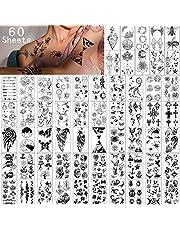 Tijdelijke tatoeages, 60 vellen, waterdicht, tiny nep-tattoo, bloemen, kroontjes, sterren, dieren, vlinders, verzamelingen, doden, voor kinderen, volwassenen, mannen en vrouwen.