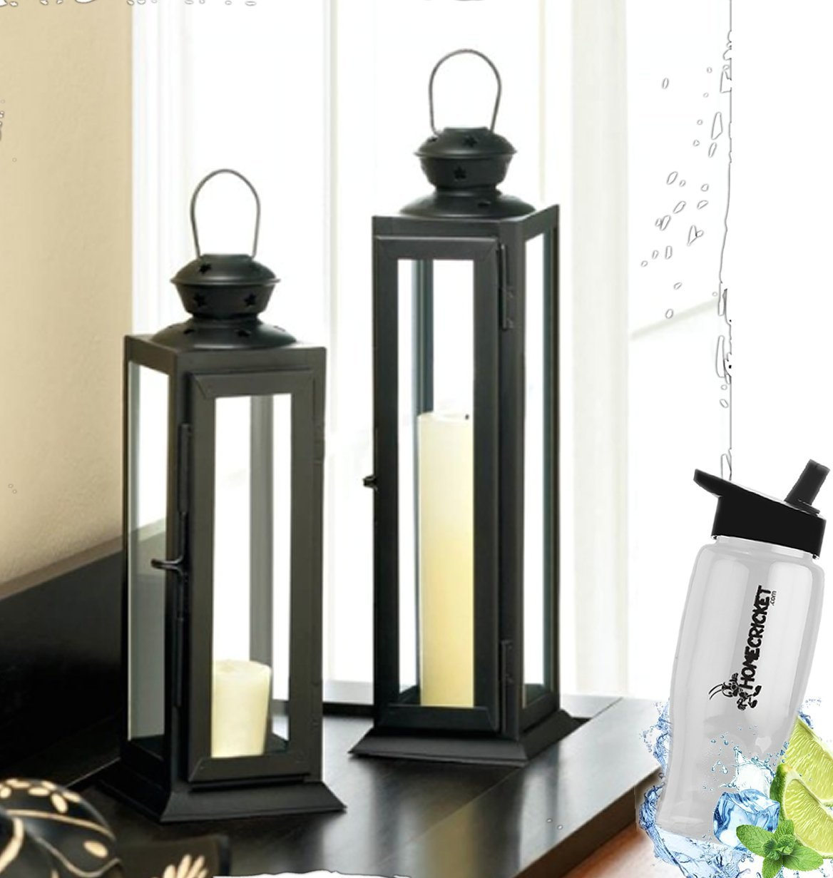 HomeCricket Gift Included- Set of 2 Tall And Short Sleek Lean Star Cutout Decorative Lanterns + FREE Bonus Water Bottle by Home Cricket