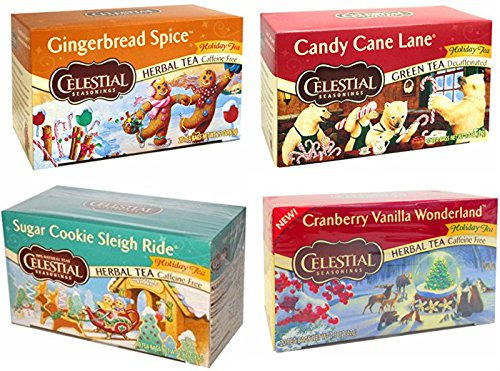 - CELESTIAL SEASONINGS HOLIDAY VARIETY DECAF HERBAL TEAS, 20 BAGS, (PACK OF 4)