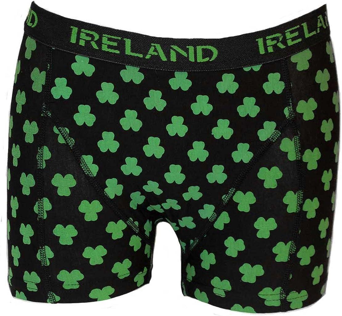 Irish Connexxion Ireland St Black Colour Patricks Day Boxer Shorts with Multi-Shamrock Print