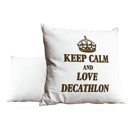 Marrón Keep Calm And Love decatlón blanco Scatter pillow ...