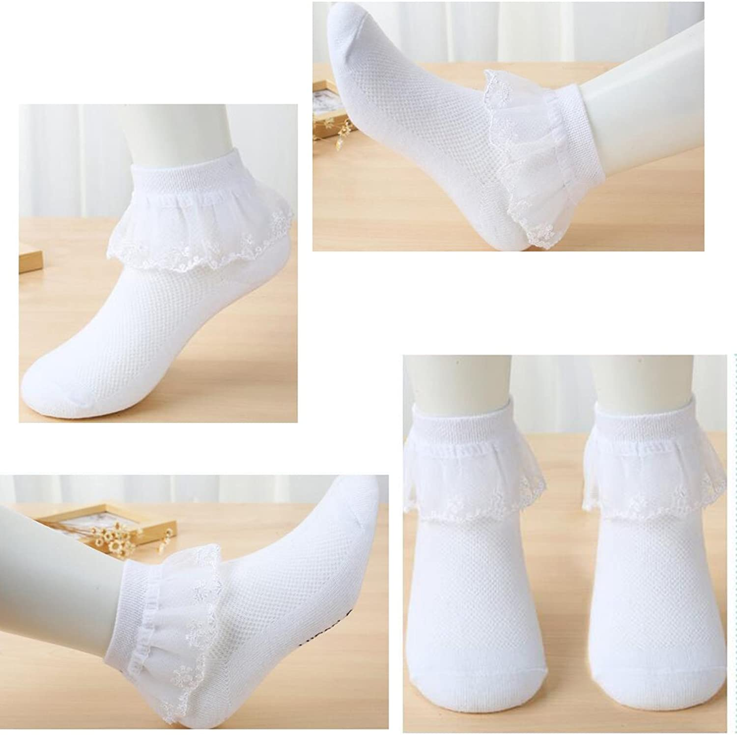 0m-10y 5 Pack of Girls White Lace Ruffle Socks Cotton Baby