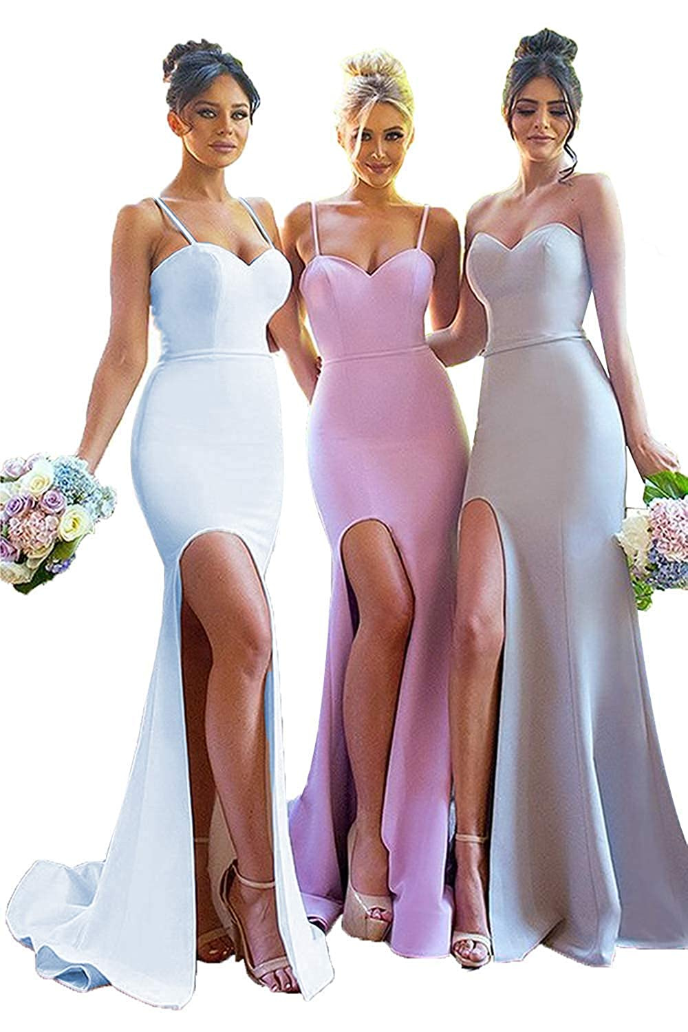 blueea Sophie Women's Spaghetti Strap Mermaid Bridesmaid Dress Strapless Prom Formal Gowns with Slit Q010