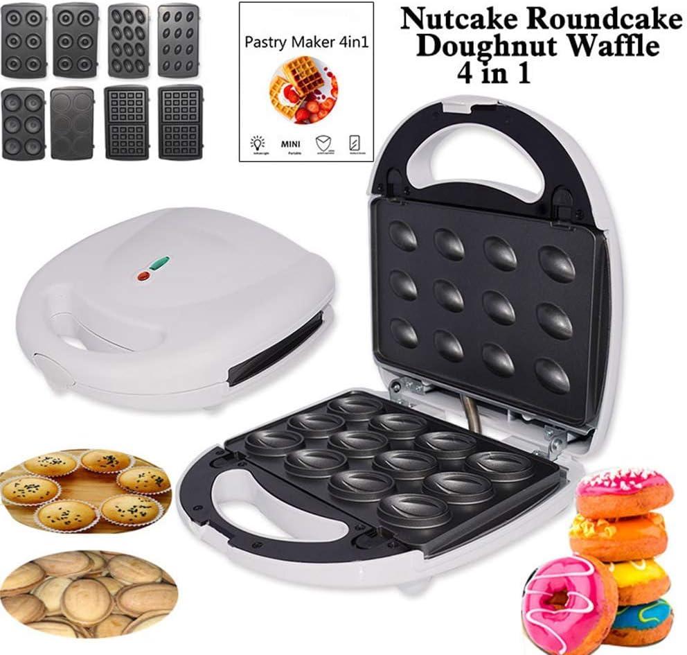 XMYL 4 En 1 Máquina para Hacer Gofres Domésticos para Nuts Cake Donut Sandwich, con Placas Extraíbles, Antiadherente, 750 W