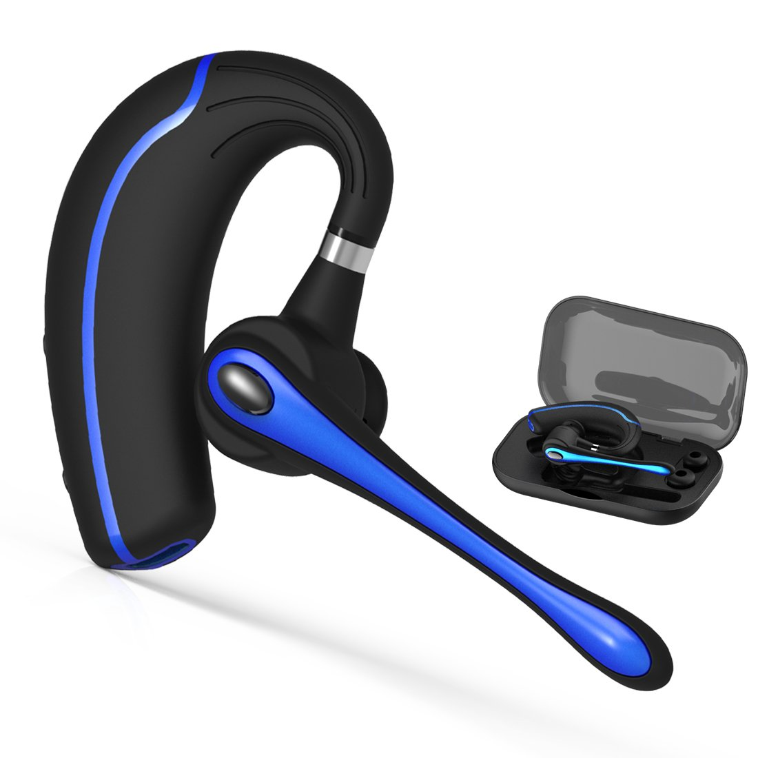 Walless Bluetooth Headset,Wireless Earpiece V4.1Hands Free Microphone for Business, Office,Driving,Work for iPhone/Samsung/Android Cell Phones (Black-B) by walless (Image #1)