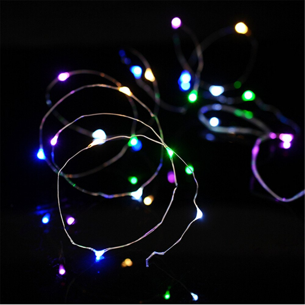 Tuscom Rice Wire Copper Fairy String Lights, 2M 20LED for Garden Christmas House Part Wedding Festival Decorative (4 Style) (Multicolor)