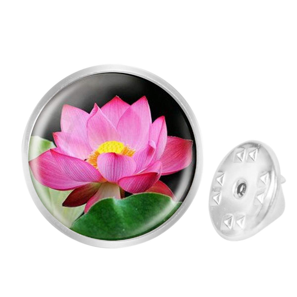 WAZZIT Round Metal Tie Tack Hat Lapel Pin Brooches Lotus Art Banquet Badge Enamel Pins Trendy Accessory Jacket T-Shirt