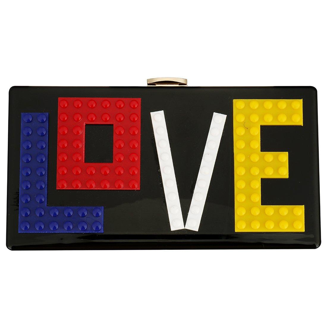 Womens Love Acrylic Clutch Evening Party Bag Purse Handbag for Women Ladies Ideal Gift (Black)