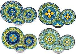 Melange 12-Piece 100% Melamine Dinnerware Set (Gardens of Italy Collection ) |  sc 1 st  Amazon.com & Amazon.com: Melamine - Dinnerware Sets / Dining u0026 Entertaining: Home ...