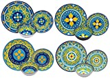 plastic outdoor plates - Melange 12-Piece 100% Melamine Dinnerware Set (Gardens of Italy Collection ) | Shatter-Proof and Chip-Resistant Melamine Plates and Bowls | Dinner Plate, Salad Plate & Soup Bowl (4 Each)