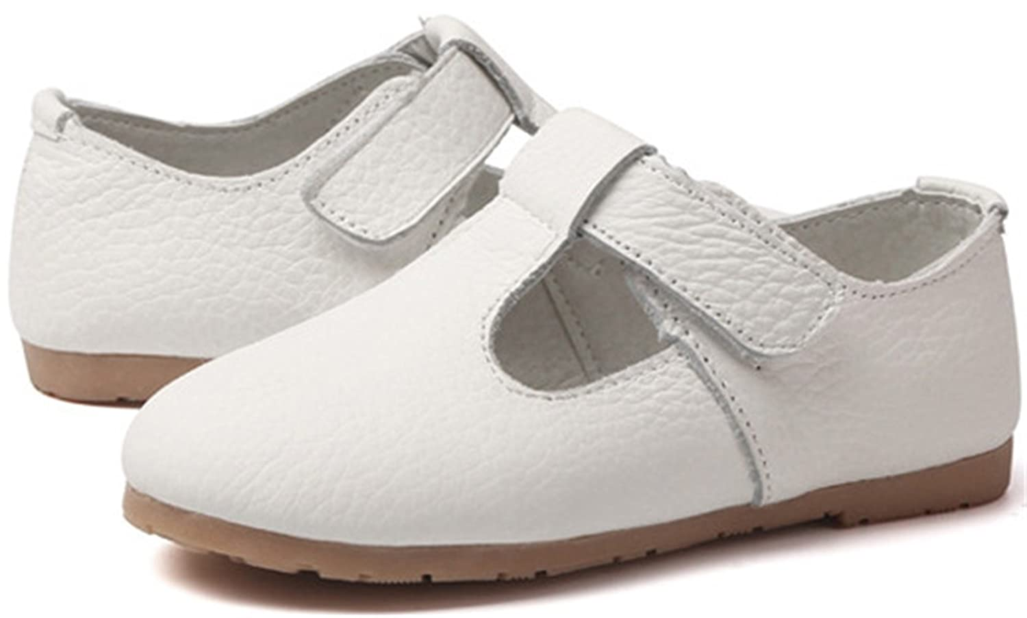 PPXID Girls Sweet Soft Leather T-Bar Flat Oxford Shoes