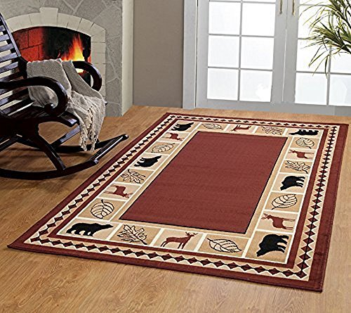 RUGS HOME Furnishmyplace Wildlife Bear Moose Rustic Lodge Cabin Lodge Carpet Area Rug, Brown