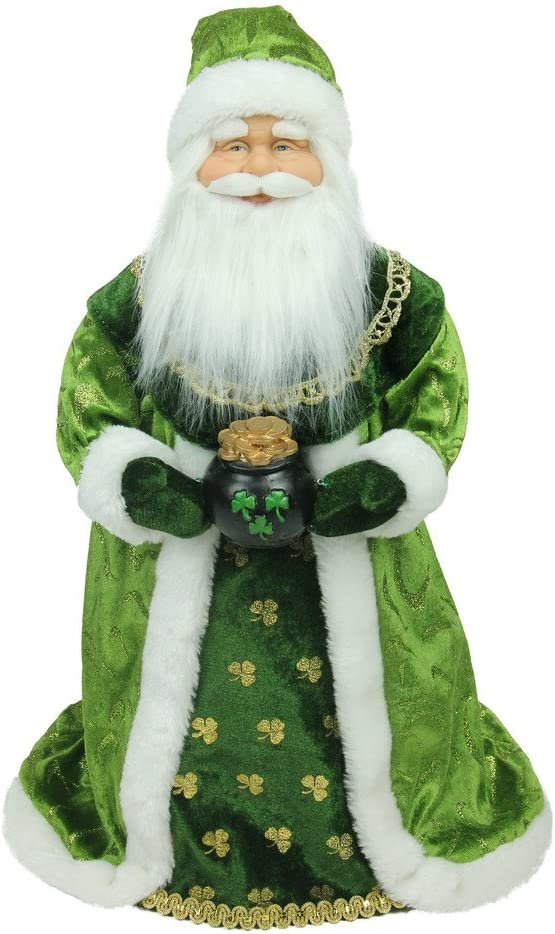18 Northlight Unlit Luck of The Irish Santa Claus Holding A Pot of Gold Tree Topper