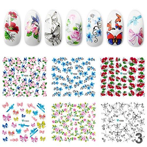 Perfect Summer 6Pcs Schmetterling/ Blume Nagelsticker Nail sticker Nagelaufkleber Gemischt Stil Wasser Decals Beliebte Nail Art Dekoration #003