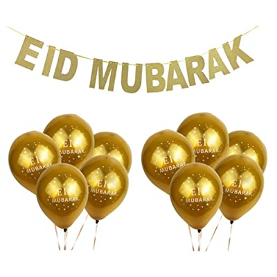 JETTINGBUY 11pcs Eid Mubarak Celebration Decoration 10 Pcs Eid Balloons and 1 Pcs Eid Mubarak Hanging Banner,Muslim Ramadan Decoration Supplies: Toys & Games