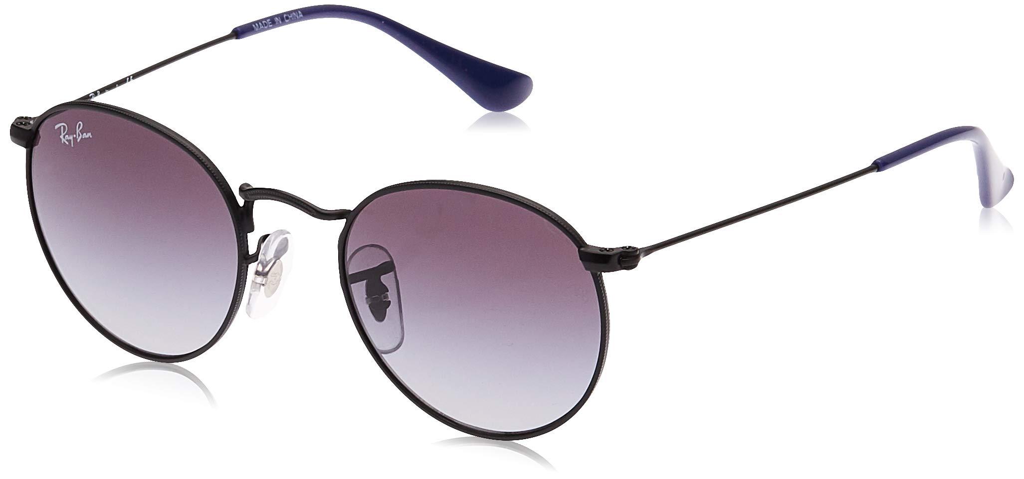 RAY-BAN JUNIOR Kids' RJ9547S Round Metal Kids Sunglasses, Matte Black/Light Grey Gradient Dark Grey, 44 mm by RAY-BAN JUNIOR